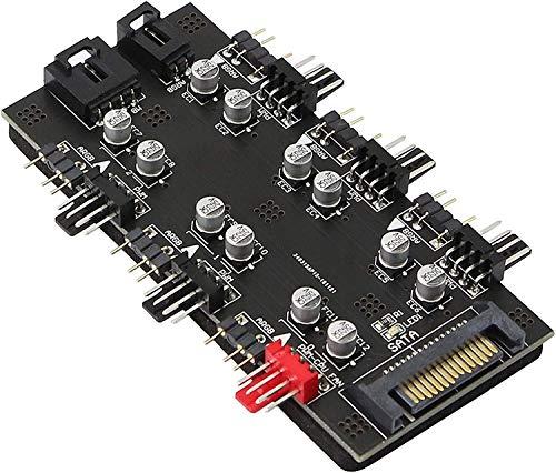 12 V 4 Pin PWM & 5 V 3 Pin ARGB mit SATA 15 Pin Power 2-in-1 Hub 6 Wege Sync CPU Kühler Adressierbar RGB Beleuchtung PCB Splitter für erweiterte Motherboard-Schnittstelle