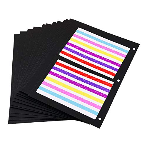 ThxMadam Scrapbooking Papel Negro 26x21.5CM, 20pcs Extra de Recarga páginas de Fotos Libro en Blanco de Papel Bricolaje Recortes álbum de Foto 27x24CM, para álbum'Marrón/Negro Grande'