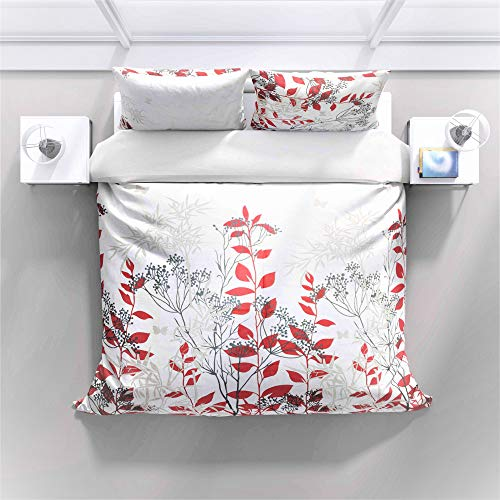 Juego de ropa de cama – 100% algodón – Patrón de prado rojo con cremallera – 2 unidades (1 funda nórdica de 140 x 200 cm + 1 funda de almohada de 70 x 90 – todo el año