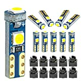 DODOFUN White T5 37 74 LED Bulb with Twist Lock Socket PC74 PC37 Dashboard Instrument Panel Gauge Cluster Light Pack of 10