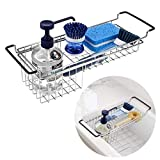 Product Image of the Kitchen Sink Caddy Sponge Holder, Hanging Dish Sponge Organizer Holder, Telescopic Farmhouse Sink Accessories, Over Sink Expandable(13.3''-18.3'') Brush Soap Storage Rack - Stainless Steel