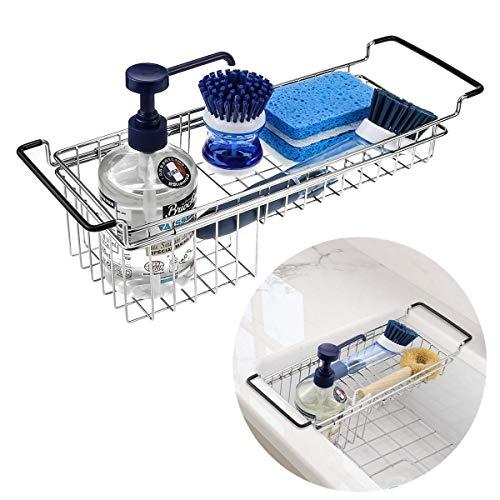 Kitchen Sink Caddy Sponge Holder, Hanging Dish Sponge Organizer Holder, Telescopic Farmhouse Sink Accessories, Over Sink Expandable(14''-20'') Brush Soap Storage Rack - Stainless Steel