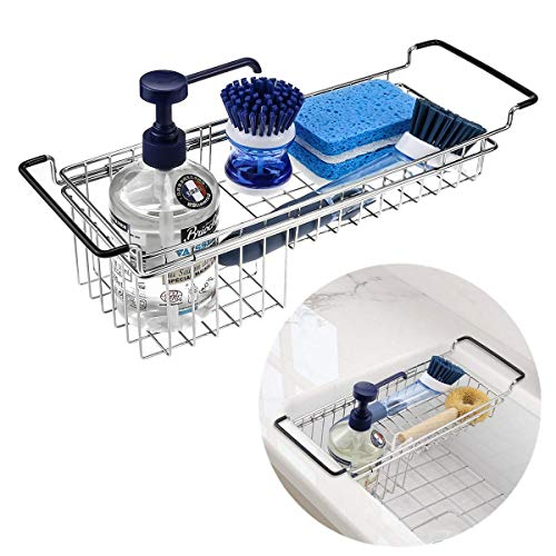 Kitchen Sink Caddy Sponge Holder, Dish Sponge Organizer Caddy for Kitchen Sink, Expandable(13.3''-18.3'') Brush Soap Drying Rack - Stainless Steel