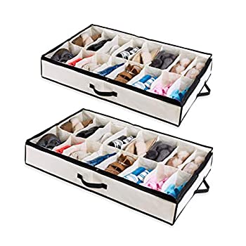 Woffit Under The Bed Shoe Organizer Fits 12 Pairs – Made with Sturdy & Breathable Materials – Set of 2 Underbed Storage Solution for Kids & Adults  Men & Women  Shoes