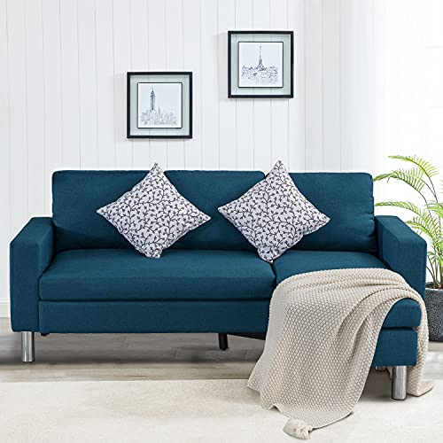 GOOD & GRACIOUS Convertible Sectional Sofa Chaise Lounge L-Shaped Couch with Modern Linen Fabric for Living Room Apartment Office and Small Space Blue