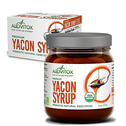 Organic Yacon Syrup by Alovitox | Natural Sweetener Rich in Antioxidants, Vitamins, Prebiotics | Low Glycemic Index, Low Calorie, Boosts Metabolism | USDA Organic (1 jar)