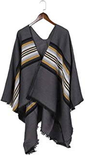 Women's Printed Shawl Wrap Fashionable Open Front Poncho Cape Cardigan Poncho Cape Women's Elegant Striped Shawl Wrap Sweater Winter Coat Stripe (Color : Grey)