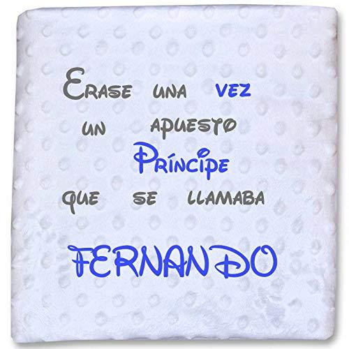 Danielstore- Manta Bordada Personalizada, Carrito Bebe-Capazo (1,10 x 0,80 cm) (Azul Frase 1)