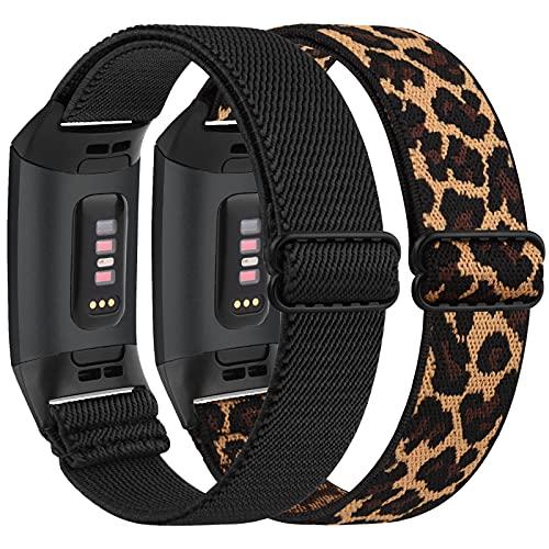 Vancle, confezione da 2 braccialetti elastici compatibili con Fitbit Charge 3/Fitbit Charge 4, cinturino regolabile in nylon elastico per Fitbit Charge 3/Charge 4/Charge 3 SE (nero + Leopard)