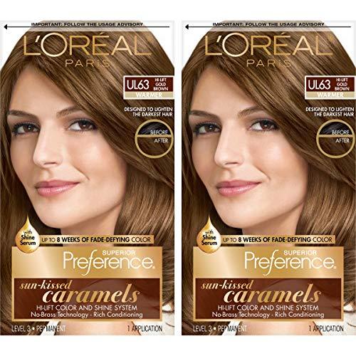 L'Oreal Paris Superior Preference Fade-Defying + Shine Permanent Hair Color, U163 Hi-Lift Golden Brown, Pack of 2, Hair Dye