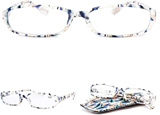 VEVESMUNDO Reading Glasses Women Ladies Men Slim Portable Narrow Floral Readers Eyeglasses 1.0 1.25 1.5 1.75 2.0 2.25 2.5 2.75 3.0 3.5 4.0 with Soft Case