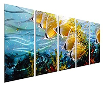 Blue Tropical Large Metal Wall Art - School of Fish Metal Wall Hanging in Modern Ocean Design - Handmade 3D Wall Art - Metal Wall Décor in 5-Panels 24 x 64