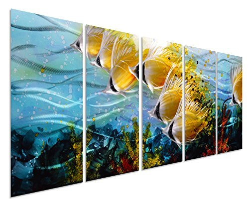 Blue Tropical School of Fish Metal Wall Art, Large Metal Wall Art in Modern Ocean Design, 3D Wall Art for Modern and Contemporary Décor, 5-Panels, 24″x 64″, Metal Wall Décor Works Indoors and Outdoors
