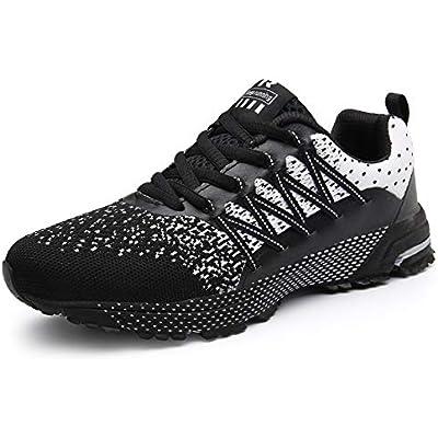 SOLLOMENSI Zapatillas de Deporte Hombres Running Zapatos para Correr Gimnasio Sneakers Deportivas Padel Transpirables Casual Montaña 43 EU A Negro