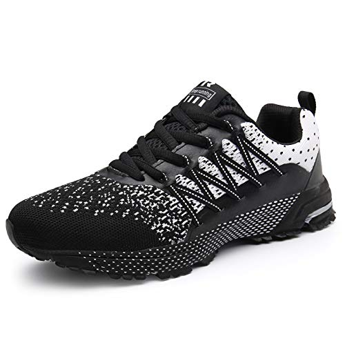 SOLLOMENSI Zapatillas de Deporte Hombres Running Zapatos para Correr Gimnasio Sneakers Deportivas Padel Transpirables Casual Montaña 42 EU A Negro