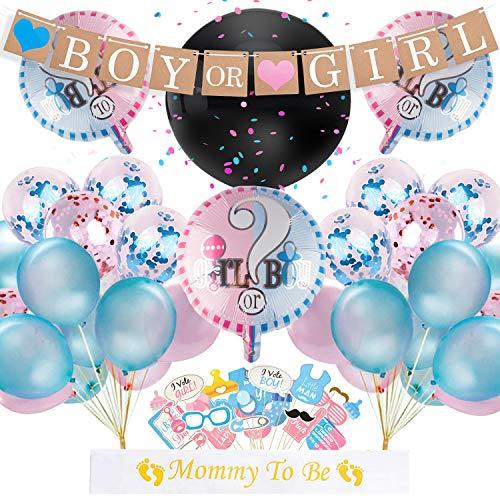 Danolt Junge und Mädchen Luftballons, 52 Pcs Geschlecht offenbaren Partyausrüstung Luftballons mit Konfetti - neugeborenes Foto Banner Stand Requisiten - Dekoration für Baby-Dusche Geburtstagsparty