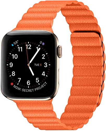 Danwon Compatible with Apple Watch Leather Link Band 40mm/38mm,44mm/42mm Series 6, Strong Magnetic Adjustable Leather Strap with Flexible Molded Magnets for iWatch Series SE 5/4/3/2/1 (42mm/44mm, Orange)