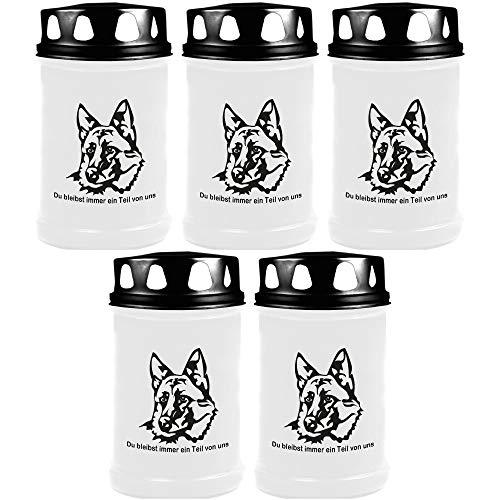 Grafkaars - pak van 5 - wit 48h (deksel zwart) - groep honden 2 modern Herderhond