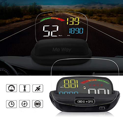 HUD Vision Head Display,TFT OBD Head Up Display Digital Car Speed Proiettore di bordo OBD2 Tachimetro Proiettore parabrezza