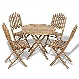 Festnight 5-tlg. Sitzgruppe Sitzgarnitur Gartenmöbel aus Bambus 1 Tisch + 4 Stühle Faltbar