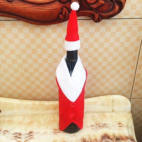 Bureze Copribottiglia di Vino Rosso Natalizio con Cappelli, Decorazione per Bottiglia di Vino da Cucina