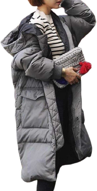 RGCA Womens Full Zip Solid color PlusSize Hood Casual Long Puffer Coats