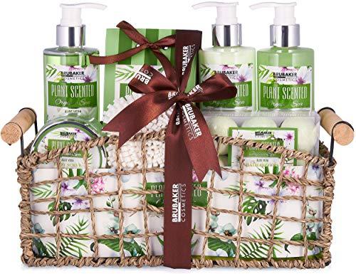 BRUBAKER Cosmetics Set de Baño y Ducha Aloe Vera Juego de regalo de 13 piezas en cesta decorativa
