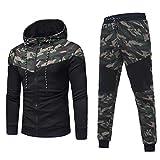 Sudadera Hombre, Xinan Sudadera de Camuflaje otoal de Invierno para Hombre Long Sleeve Top Pants Sets Sports Suit Imprimir chndal/Pantalones (XXXL, Conjunto de Camuflaje)