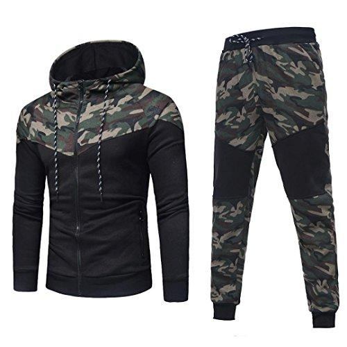 Sudadera Hombre, Xinan Sudadera de Camuflaje otoñal de Invierno para Hombre Long Sleeve Top Pants Sets Sports Suit Imprimir chándal/Pantalones (L, Conjunto de Camuflaje)