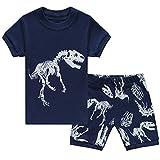 Tkiames - Pijama de manga larga para niños Azul Azul Marino 2 12 meses