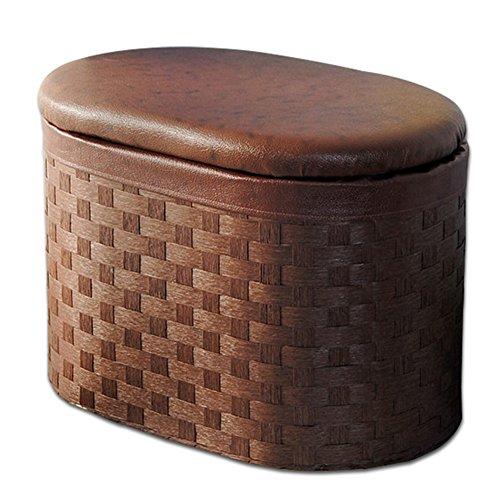 LSX - almacenamiento Café Rattan Compile Dormitorio Taburete de almacenamiento Cesta de zapatos Banco Foyer Taburete Sala de estar Tocador Mall Tienda de calzado Escabel otomanas ( Size : 60*40*38cm )