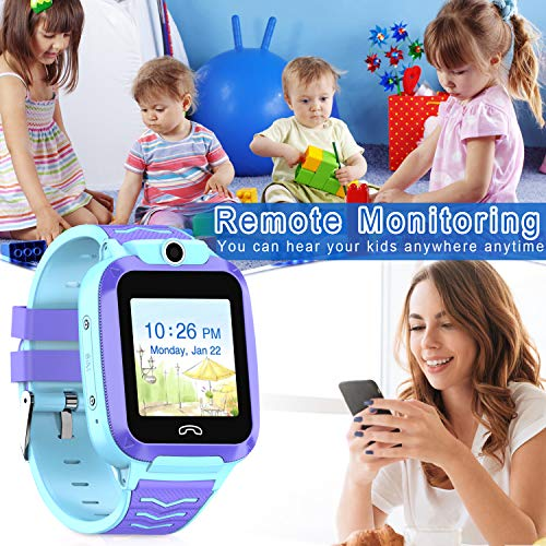 UOTO 4G Kids Smartwatch Phone, WiFi LBS GPS Tracker Watch Waterproof for Boys Girls with Pedometer/Remote monitoring/FaceTalk/2-way Call/SOS, Kids Christmas Birthday Gift(Blue-Q51) 5