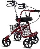 Rollator Walker, 4 ruedas Medical Rolling Walker Shopping Trolley, caminante de cuatro ruedas con asiento, altura ajustable, plegable ligero (Color : Red)