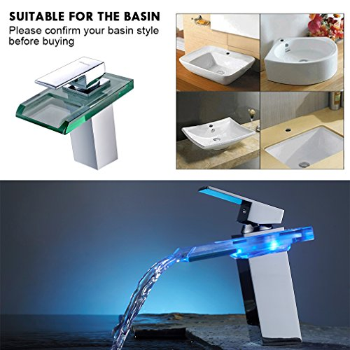 Auralum® Armatur LED RGB Glass Wasserhahn Waschtischarmatur für Bad/Badezimmer/Küchen - 9