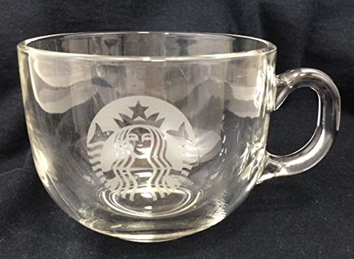 Starbucks Siren Logo Etched Glass Large Coffee Cup 17 oz