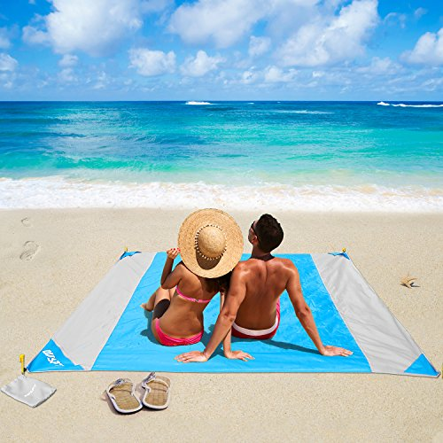 OUSPT Coperta da Spiaggia, Tappetino da Picnic Anti Sabbia 210 * 200cm Portatile...