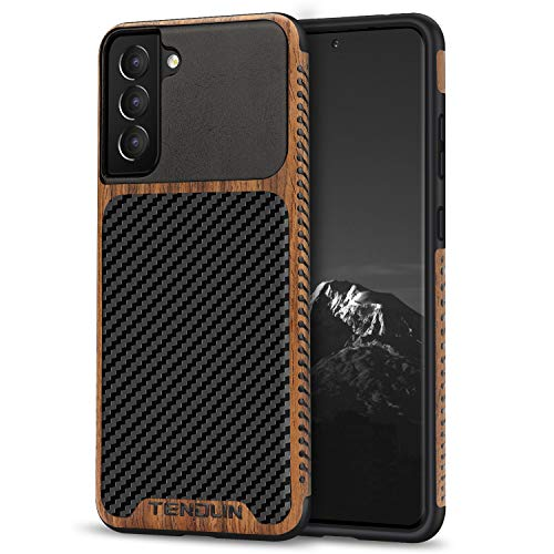 TENDLIN Compatible with Samsung Galaxy S21 Plus Case Wood Grain with Carbon Fiber Texture Design Leather Hybrid Case