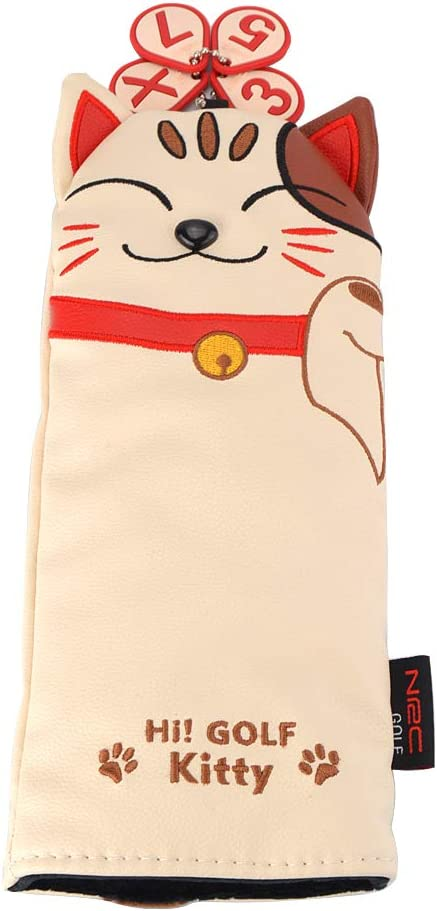 GOOACTION Lucky Cat Golf Club Head Cover for Driver Fairway Wood