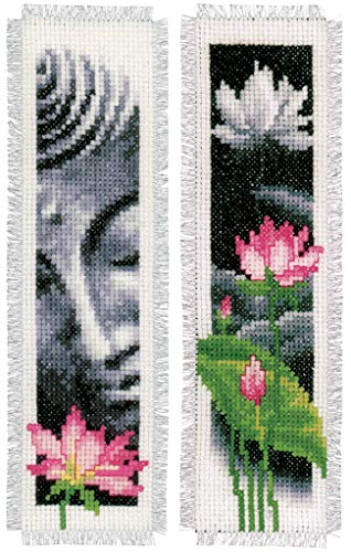 Vervaco Cross Stitch Bookmark Kit Lotus and Buddha (Set of 2) 2.4' x 8'