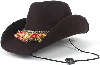 HaiNing Zheng Women Wool Hollow Western Cowboy Hat Roll-up Brim Lady Cowgirl Jazz Sombrero Cap With Tassel Ribbon