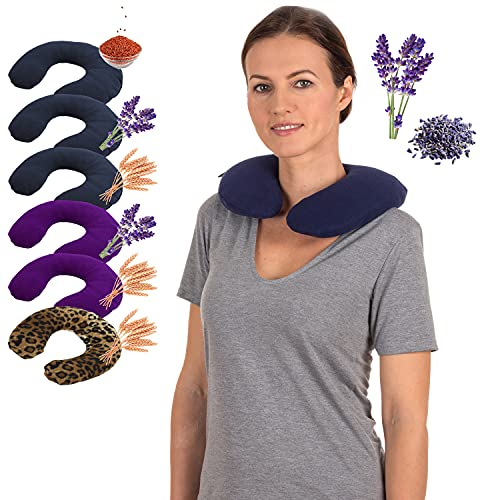 Made in USA Heated Neck Wrap - Aromatherapy Heated Pillow Microwave - Heating Pad for Neck and Shoulders - Hot Moist Aromatherapy - Lavender Scented Flax Seeds Filled by Sunnybay (Navy Blue)