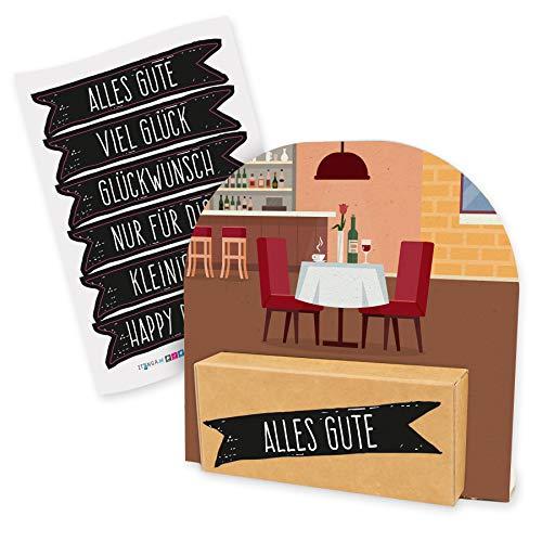 itenga Geldgeschenk oder Gutschein Verpackung Geschenkaufsteller Motiv/Anlass Restaurant Essen Restaurantgutschein mit Stickerbogen aus Karton 12x11,5cm