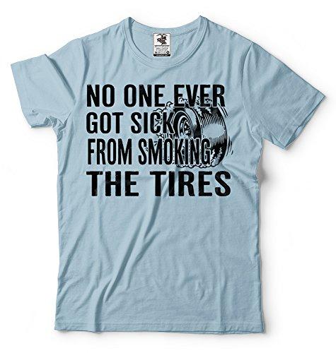 Silk Road Tees Neumáticos Fumadores Entusiasta de los Coches de Carreras de la Camiseta de los Hombres Camiseta de la quemadura Regalo para el Coche Amante del Entusiasta XX-Large Azul Claro