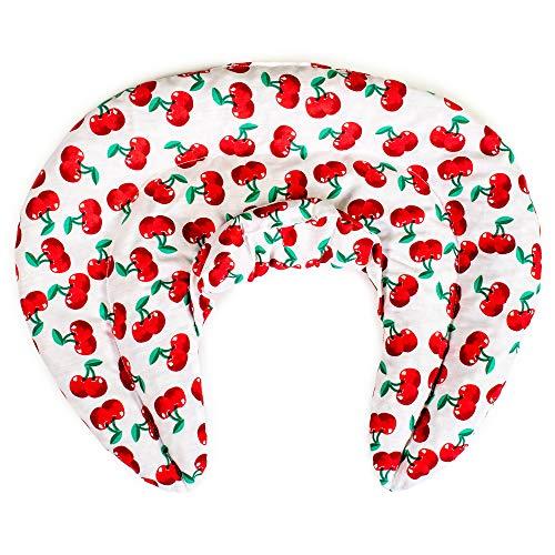 Giraffenland Cuscino del Collo, Cherry-White. Cuscino cervicale. Cuscino Termico con Semi di Lino (Forno, microonde)