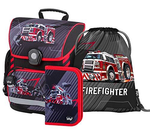 Schulranzen Jungen Set 3 Teilig - Schultasche ab 1. Klasse - Grundschule Ranzen mit Brustgurt - Ergonomischer Schulrucksack (Feuerwehr)