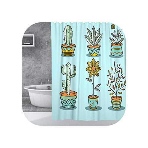 Big Incisor Bikini Gewichtete Duschvorhänge | Plant Flower Polyester Duschvorhang mit Haken 3D Cactus Print Badabdeckung Vorhänge für dekorative Badezimmerversorgung-C-