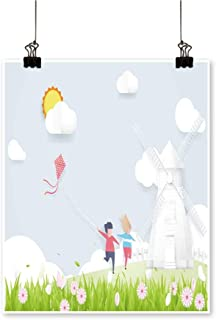 Artwork for Office Decorationsspring Season Concept boy Girl plaay Kite Windmills Canvas Living Room,28