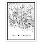 HONG Impresión De Lienzo, San Luis Potosi Mexico City Map Painting Póster En Blanco Y Negro Cuadros Impresos Frame Less Picture, Grabados Y Carteles para Sala De Estar Y Dormitorio,70 * 100cm