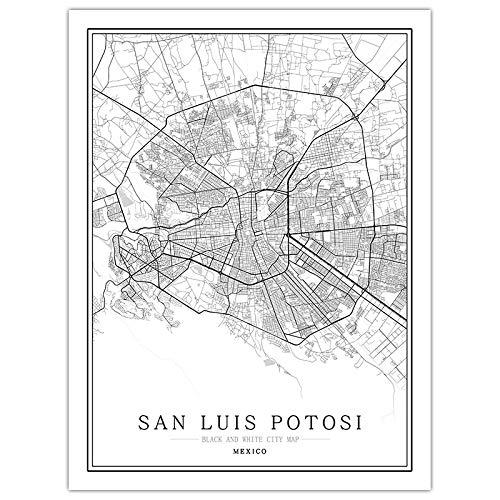 Cuadro En Lienzo,Mapa De La Ciudad De México San Luis Potosi Mapa De Viaje Creativo Arte Vertical Impresiones En Lienzo De Fondo Imágenes Para Colgar En La Pared Para Decoración Del Hogar Sin Mar