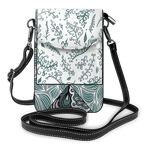 Women Mini Purse Crossbody of Cell Phone,Shabby Chic Leaves In Mix Chevron Swirled Nature Branches Flower Print